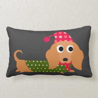 Dachshund Christmas Lumbar Pillow
