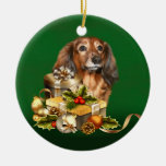 Dachshund Christmas Double-Sided Ceramic Round Christmas Ornament