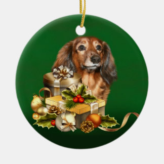 Dachshund Christmas Double-Sided Ceramic Round Christmas Ornament