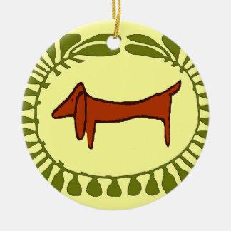 Dachshund Christmas Oval Ceramic Ornament