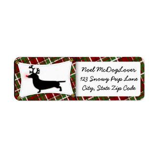 Dachshund Christmas Return Address Label