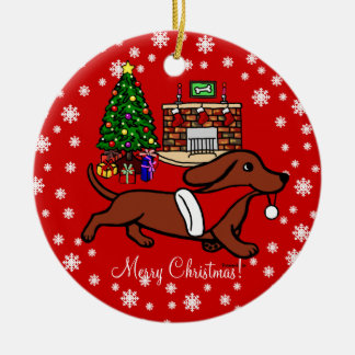 Dachshund Christmas Running Ceramic Ornament