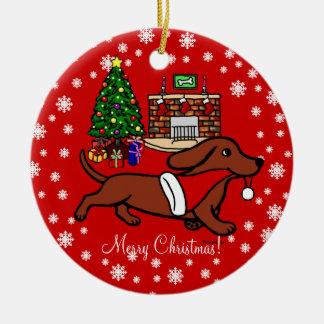 Dachshund Christmas Running Ornaments