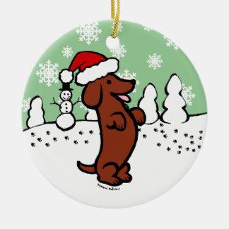 Dachshund Christmas Santa Hat Ceramic Ornament