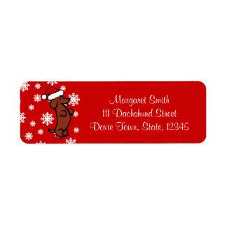 Dachshund Christmas Santa Hat Labels