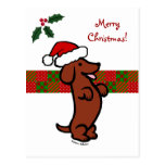 Dachshund Christmas Santa Hat Postcards