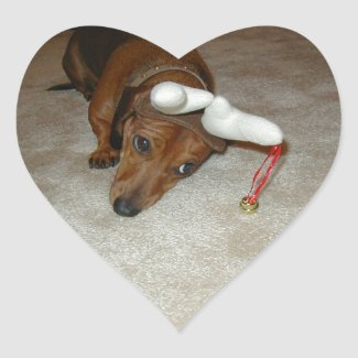 Dachshund Christmas Sticker - Reluctant Reindeer