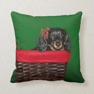 Dachshund Christmas Throw Pillow