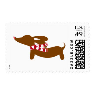 Dachshund Christmas Winter Holiday Postage Stamps