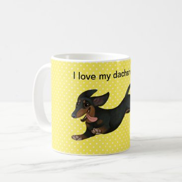 Coffee Themed Dachshund Coffee Mug Polka Dot Wiener Dog Cup