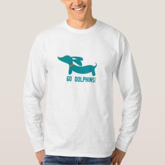 Dachshund + Colores del NFL de los delfínes Camisas
