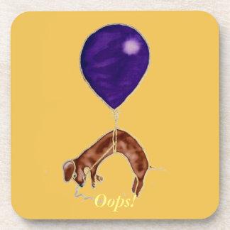 dachshund con el globo posavasos