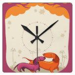 Dachshund Couple Square Wall Clock