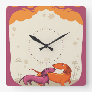 Dachshund Couple Square Wall Clock