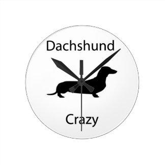 Dachshund Crazy Round Clock
