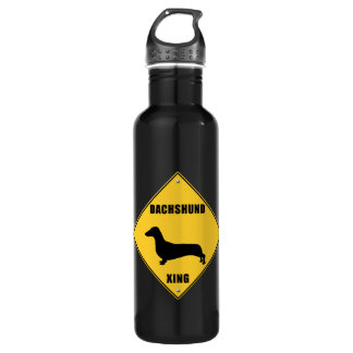 Dachshund Crossing (XING) Sign 24oz Water Bottle