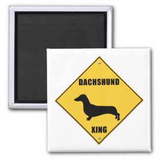 Dachshund Crossing (XING) Sign 2 Inch Square Magnet