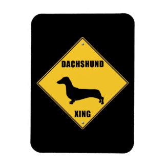 Dachshund Crossing (XING) Sign Rectangular Photo Magnet