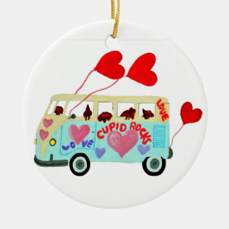 Dachshund Cupids In Their Valentine Love Mobile Ceramic Ornament