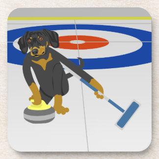 Dachshund Curling Coaster
