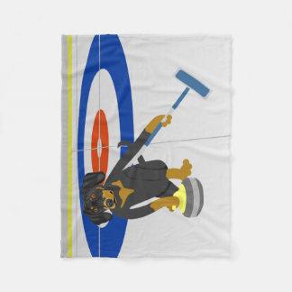 Dachshund Curling Fleece Blanket