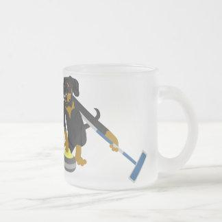 Dachshund Curling Frosted Glass Coffee Mug