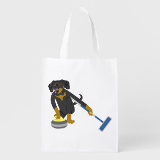 Dachshund Curling Grocery Bags