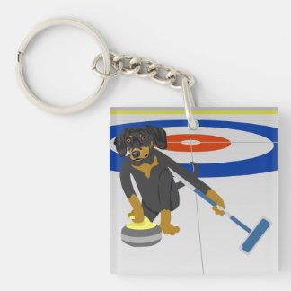 Dachshund Curling Single-Sided Square Acrylic Keychain