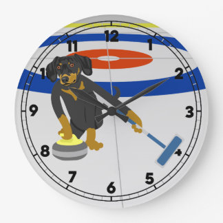 Dachshund Curling Large Clock