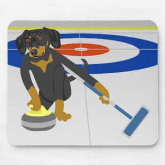 Dachshund Curling Mouse Pad