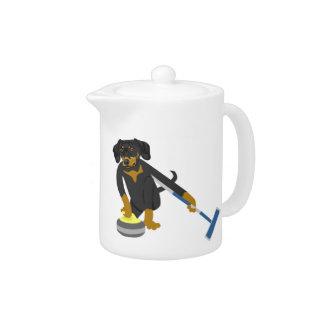 Dachshund Curling Teapot