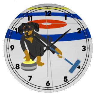 Dachshund Curling Wall Clocks