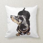 dachshund cushion by Annabel Tarrant Throw Pillow