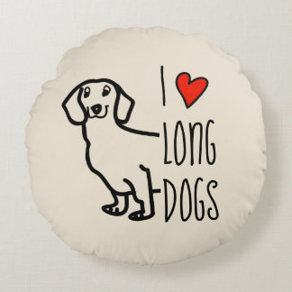 Dachshund Cute Long Dog Funny Love Hearts Wiener Round Pillow