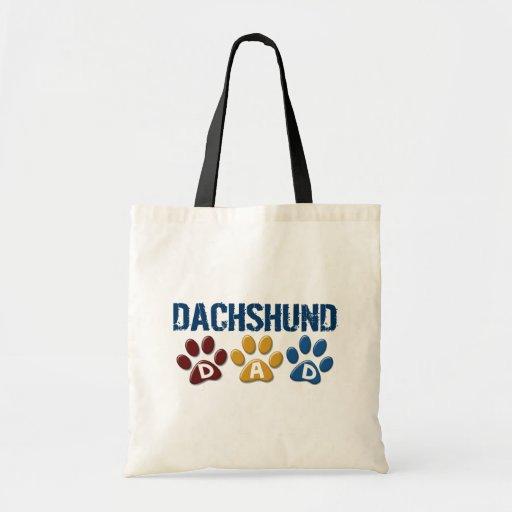 DACHSHUND Dad Paw Print 1 Budget Tote Bag