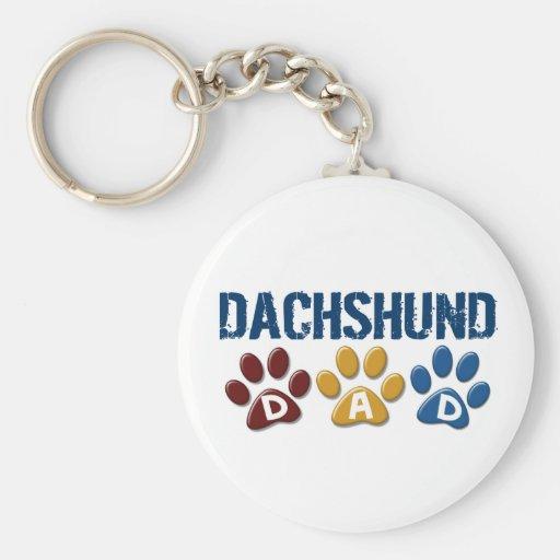 DACHSHUND Dad Paw Print 1 Basic Round Button Keychain