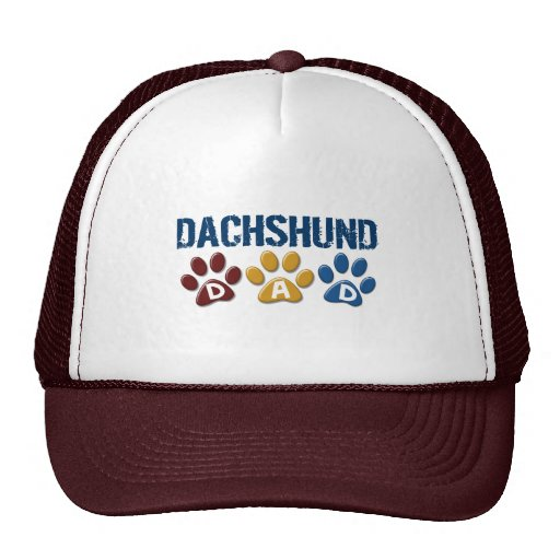 DACHSHUND Dad Paw Print 1 Trucker Hat
