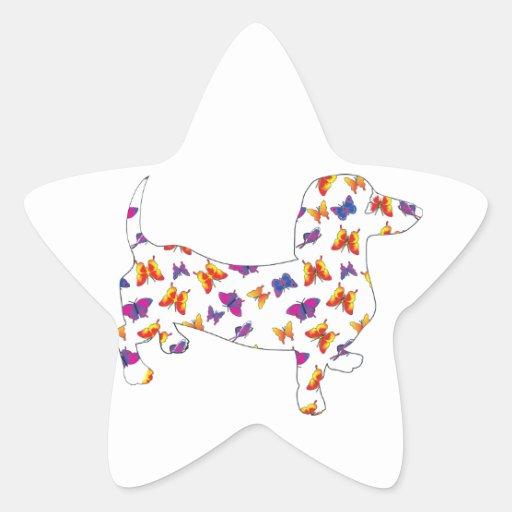 Dachshund de Doxie de la mariposa Pegatina En Forma De Estrella
