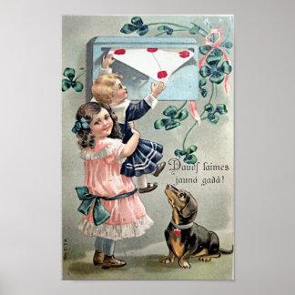Dachshund de la tarjeta del día de San Valentín Póster