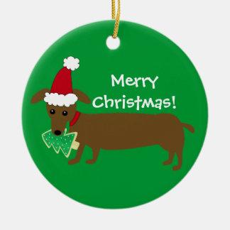 Dachshund de las Felices Navidad Adorno Navideño Redondo De Cerámica
