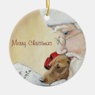 Dachshund de las Felices Navidad y ornamento del Adorno Redondo De Cerámica