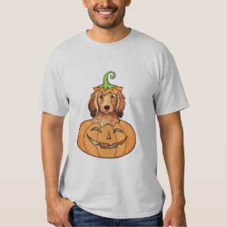 Dachshund de pelo largo de Halloween Remeras