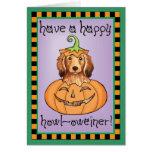 Dachshund de pelo largo de Halloween Tarjeta De Felicitación