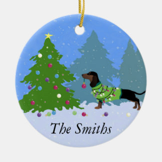 Dachshund Decorating Christmas Tree in forest Ceramic Ornament