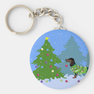 Dachshund Decorating Christmas Tree in forest Keychain