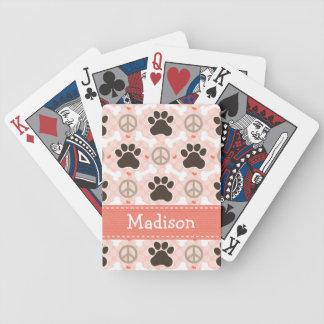 Dachshund del amor de la paz cartas de juego