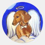 Dachshund del ángel etiquetas redondas