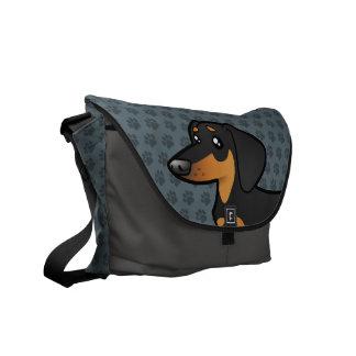 Dachshund del dibujo animado (capa lisa) bolsa de mensajeria