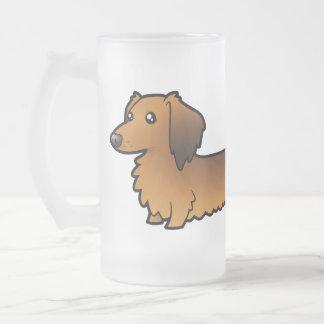 Dachshund del dibujo animado (de pelo largo) tazas de café