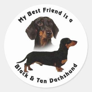 Dachshund del moreno del negro del mejor amigo pegatina redonda